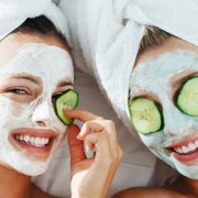Two girls applying natural beauty masks